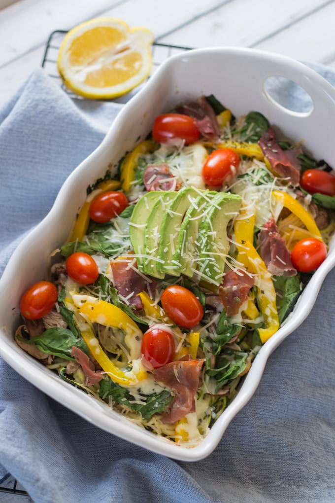 Turkey and Prosciutto Zucchini Bake