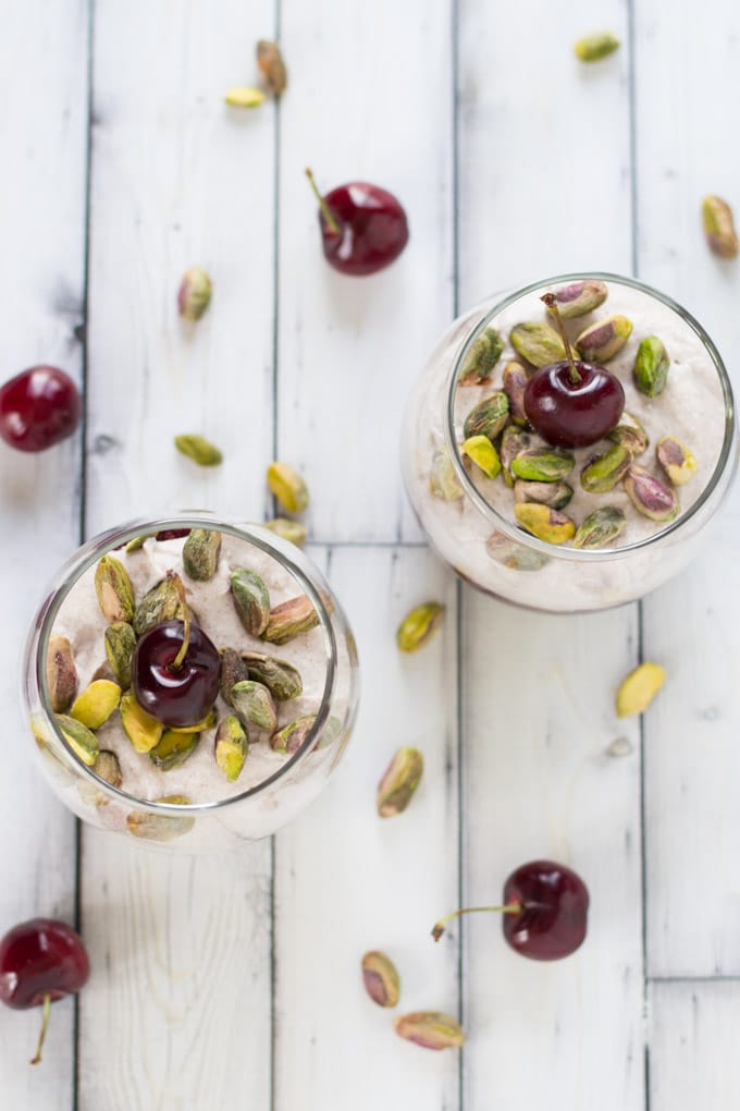 Cherry Chamomile Chia Pudding with Pistachios and Coconut Cream