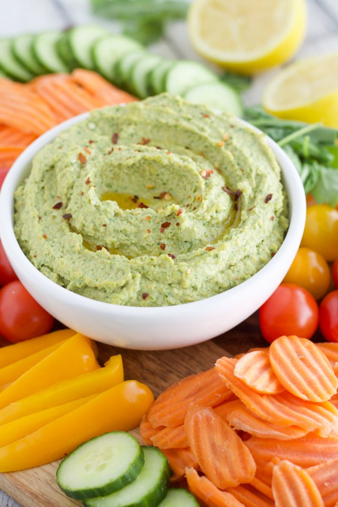 5-Minute Red Pepper Arugula Hummus