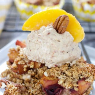 Stone Fruit Crisp with Peach Praline Ice Cream