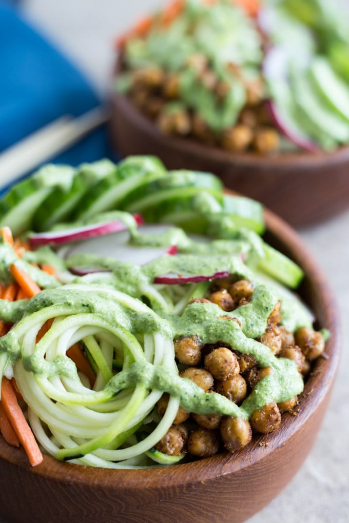 Zucchini Noodle Bowls with Crispy Chick Peas and Jalapeño Dressing