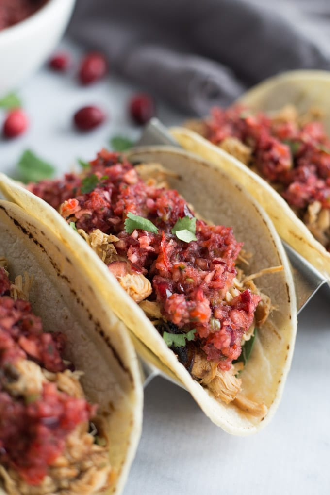 Slow Cooker Apple Cranberry Chicken Tacos