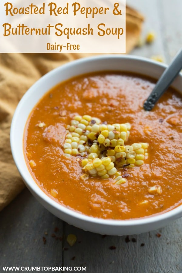 Pinterest image for Roasted Red Pepper and Butternut Squash Soup.