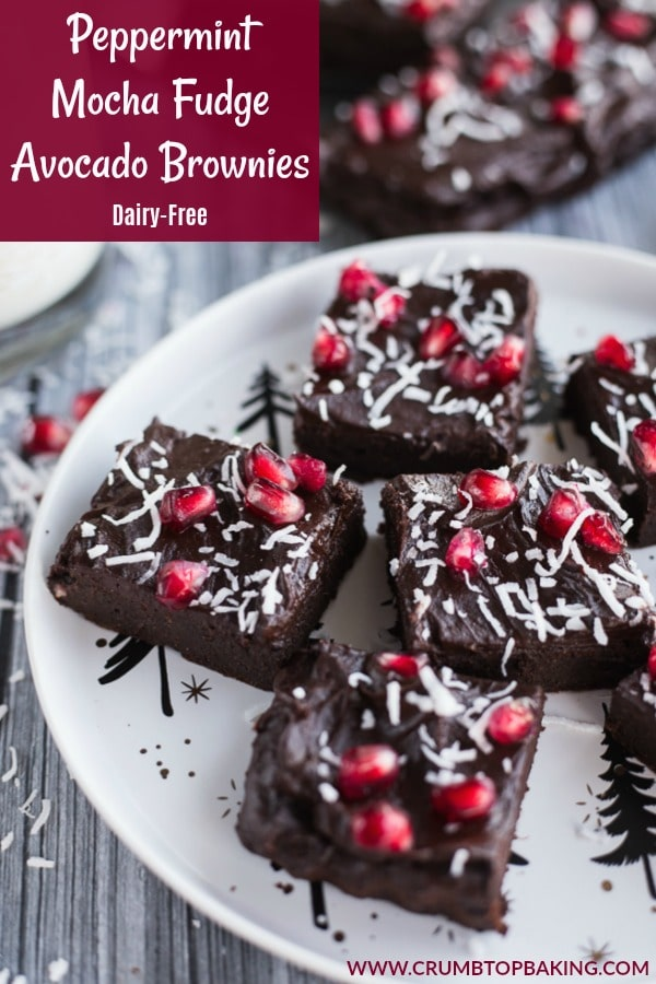 Pinterest image for Peppermint Mocha Fudge Avocado Brownies.