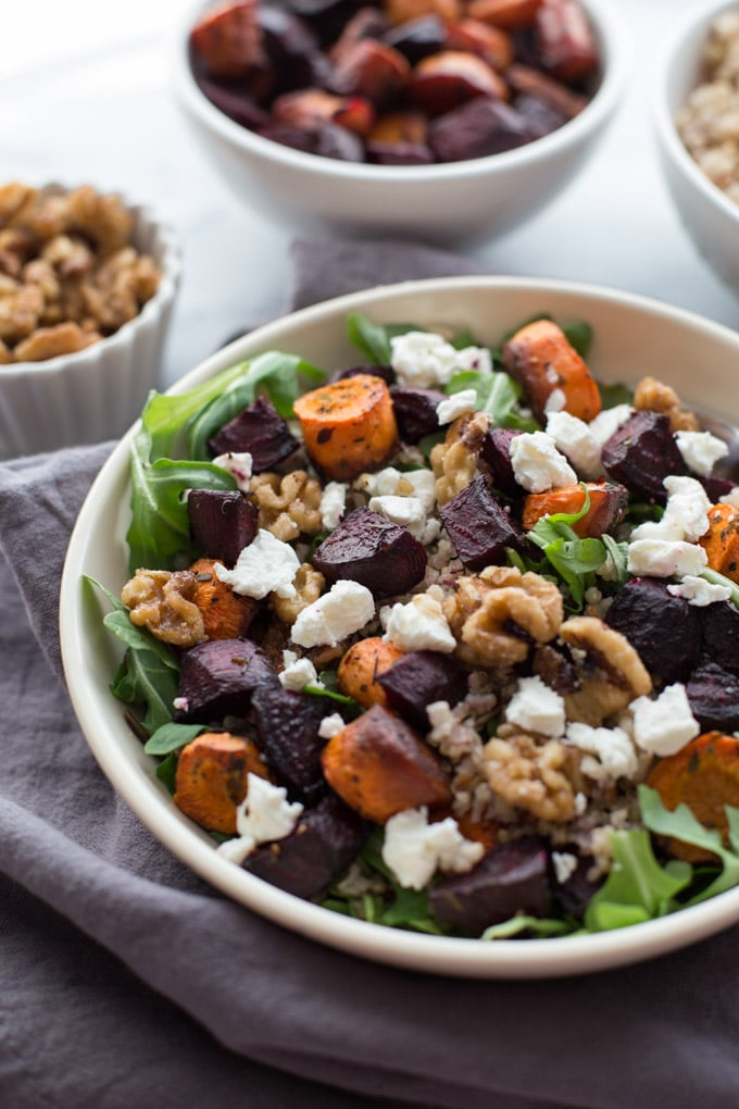 Balsamic Roasted Beet Salad with Maple Walnuts
