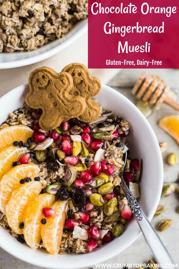 Pinterest image for Chocolate Orange Gingerbread Muesli.