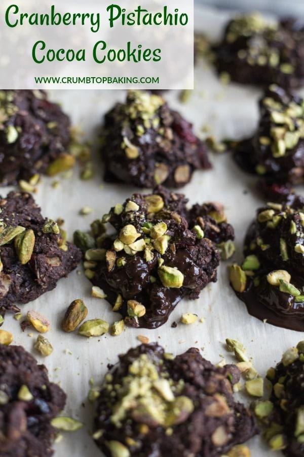 Pinterest image for Cranberry Pistachio Cocoa Cookies.