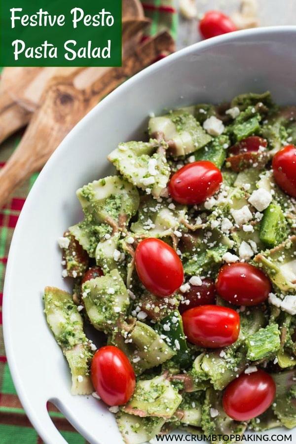 Pinterest Image for Festive Pesto Pasta Salad.