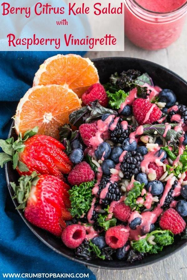Pinterest image for Berry Citrus Kale Salad.