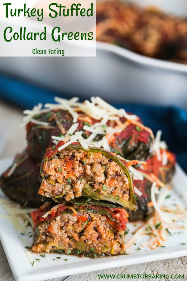 Pinterest image for Turkey Stuffed Collard Greens.
