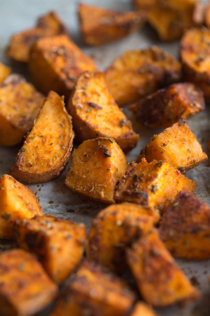 Up-close view of spicy sweet potatoes.