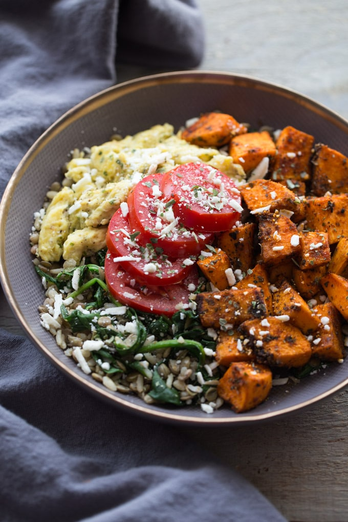 Up-close overhead view of a Spicy Sweet Potato Breakfast Bowl.