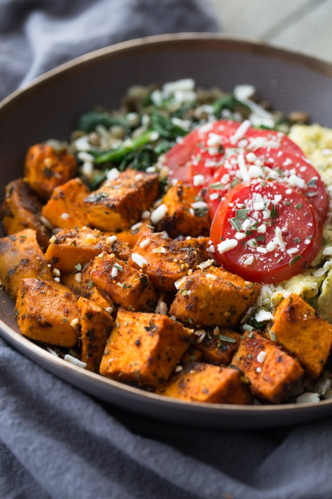 Up-close view of a Spicy Sweet Potato Breakfast Bowl.