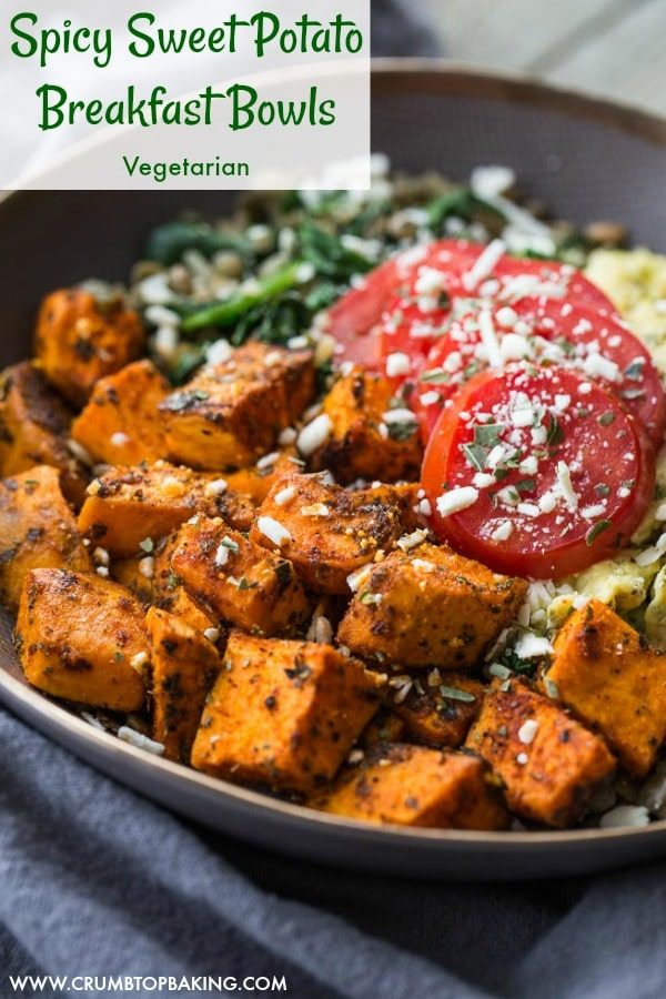 Pinterest image for Spicy Sweet Potato Breakfast Bowls.