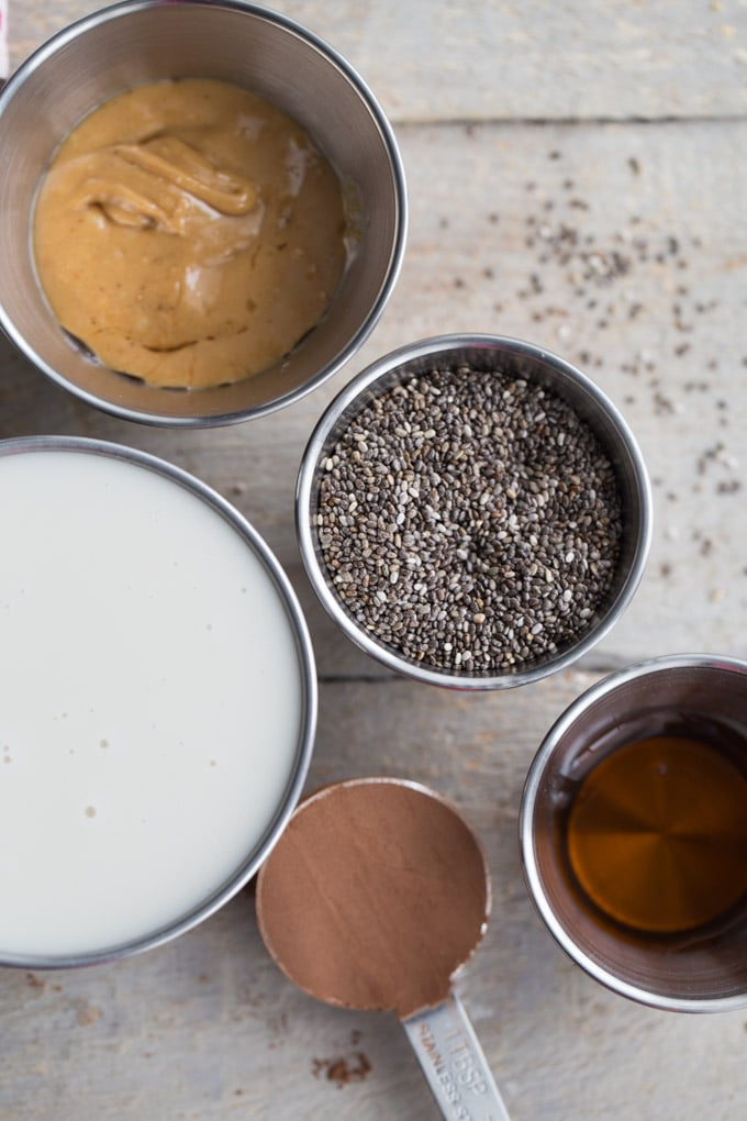 Overhead view of the ingredients to make Chocolate Peanut Butter Chia Pudding.