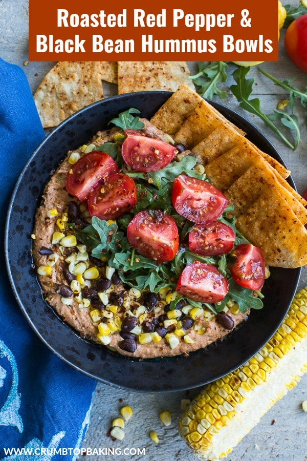 Pinterest image for Roasted Red Pepper and Black Bean Hummus Bowls.