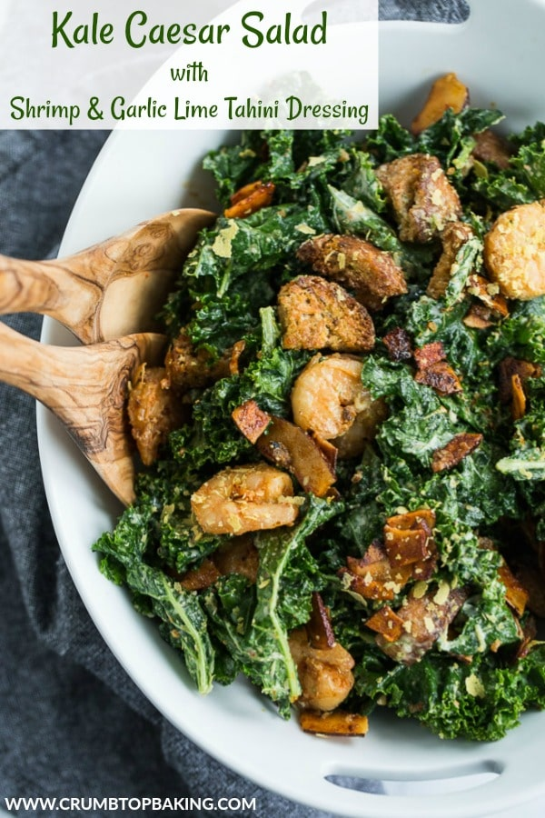 Pinterest image for Kale Caesar Salad.
