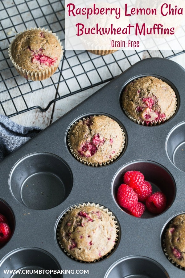 Pinterest image for Raspberry Lemon Chia Buckwheat Muffins.