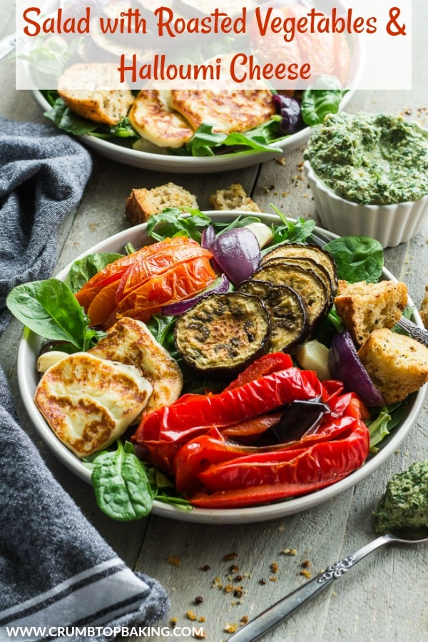 Pinterest image for Salad with Roasted Vegetables and Halloumi Cheese.