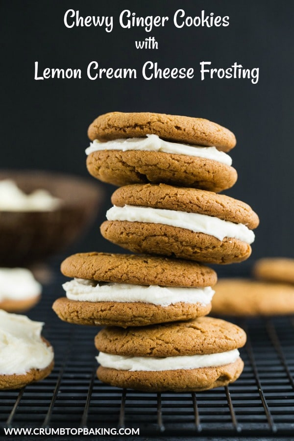 Pinterest image for Chewy Ginger Cookies with Lemon Cream Cheese Frosting.