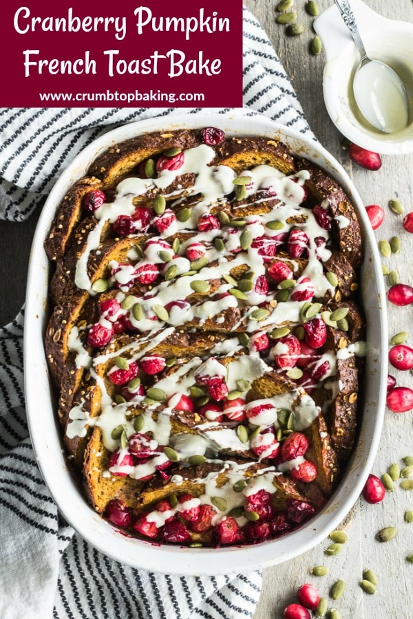 Pinterest image for Cranberry Pumpkin French Toast Bake.