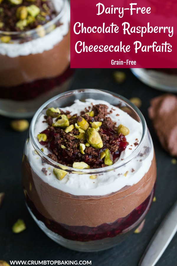 Pinterest image for Chocolate Raspberry Cheesecake Parfaits.