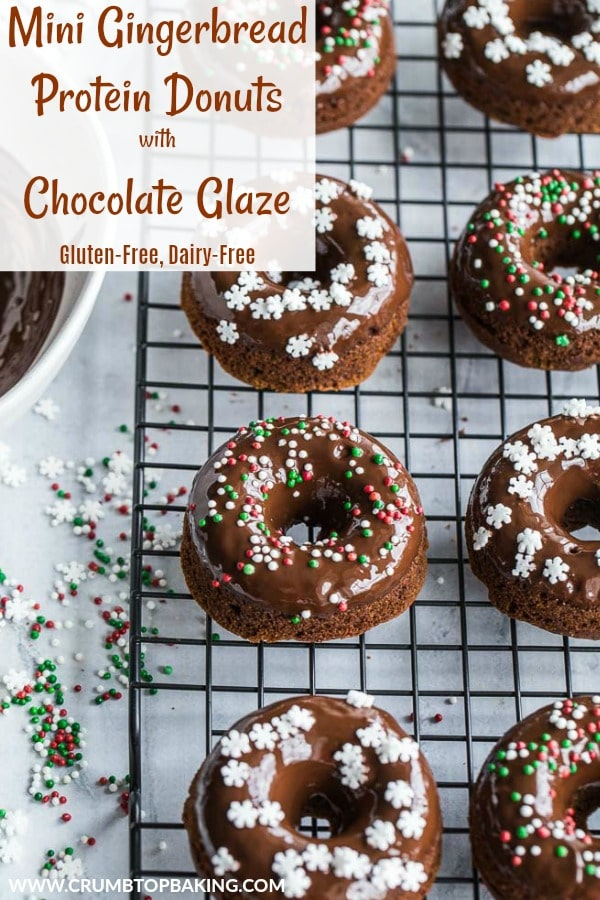Pinterest image for Mini Gingerbread Protein Donuts with Chocolate Glaze.