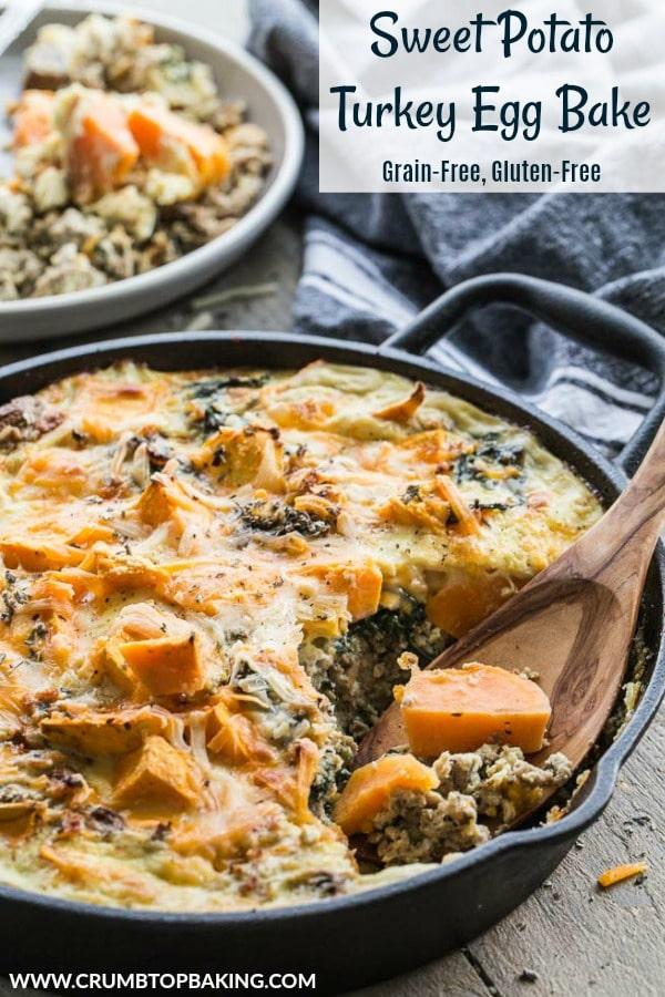 Pinterest image for Sweet Potato Turkey Egg Bake.