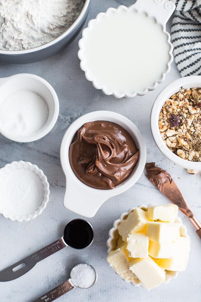 Overhead view of ingredients to make Chocolate Hazelnut Caramel Rolls.