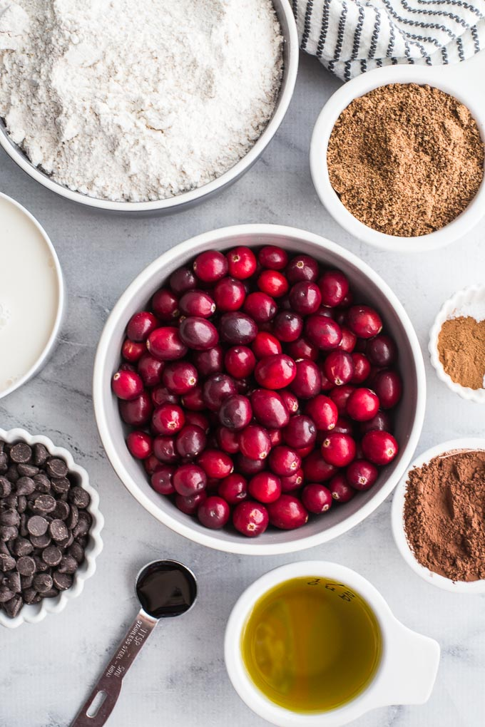 Overhead view of ingredients to make Dark Chocolate Cranberry Bundt Cake.