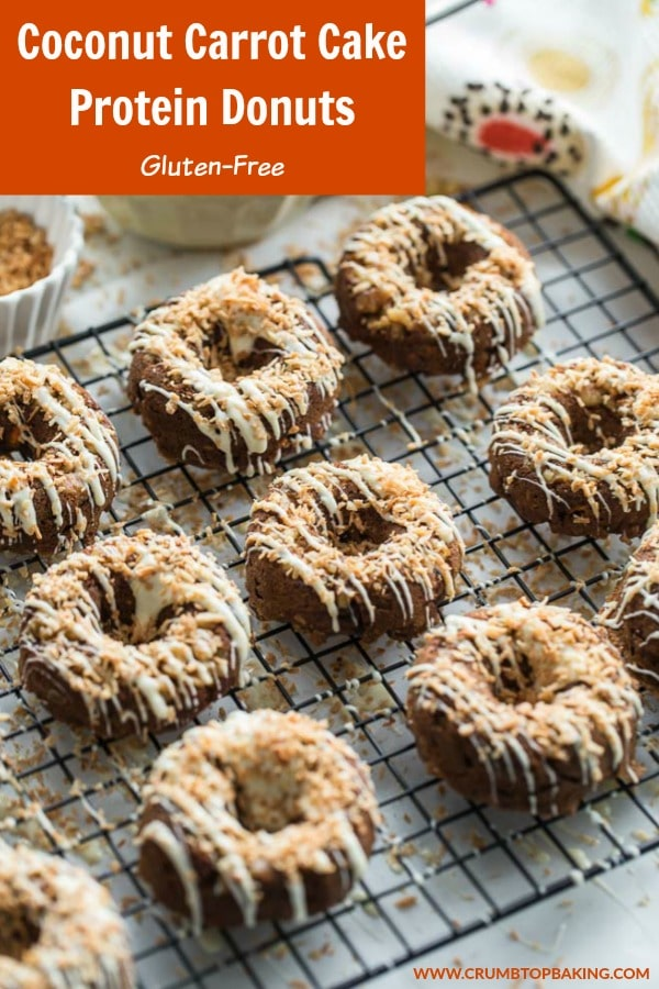 Pinterest image for Coconut Carrot Cake Protein Donuts.