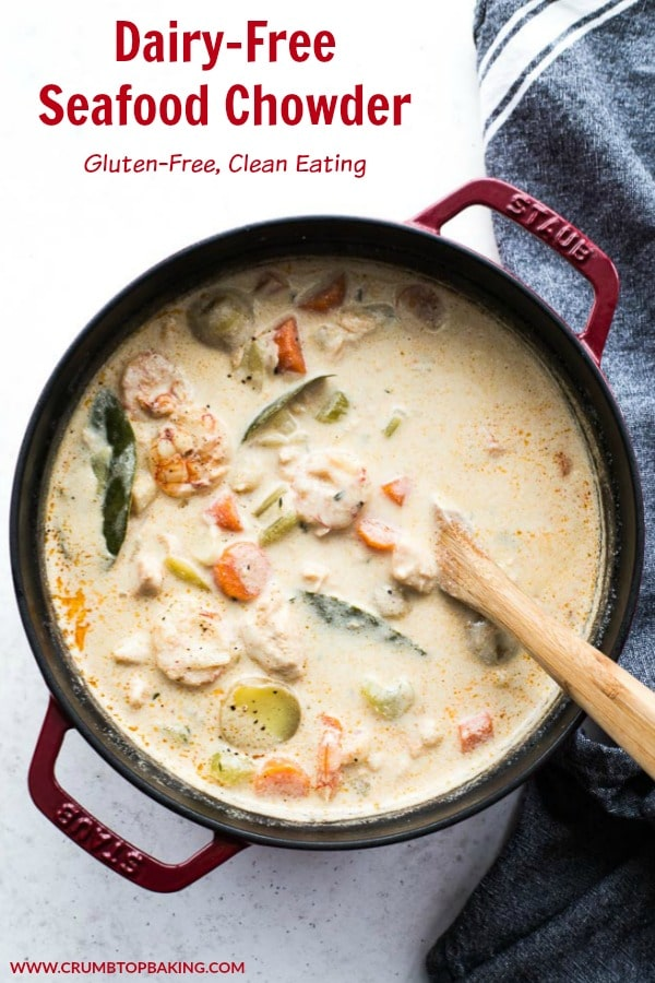 Pinterest image for Dairy-Free Seafood Chowder.