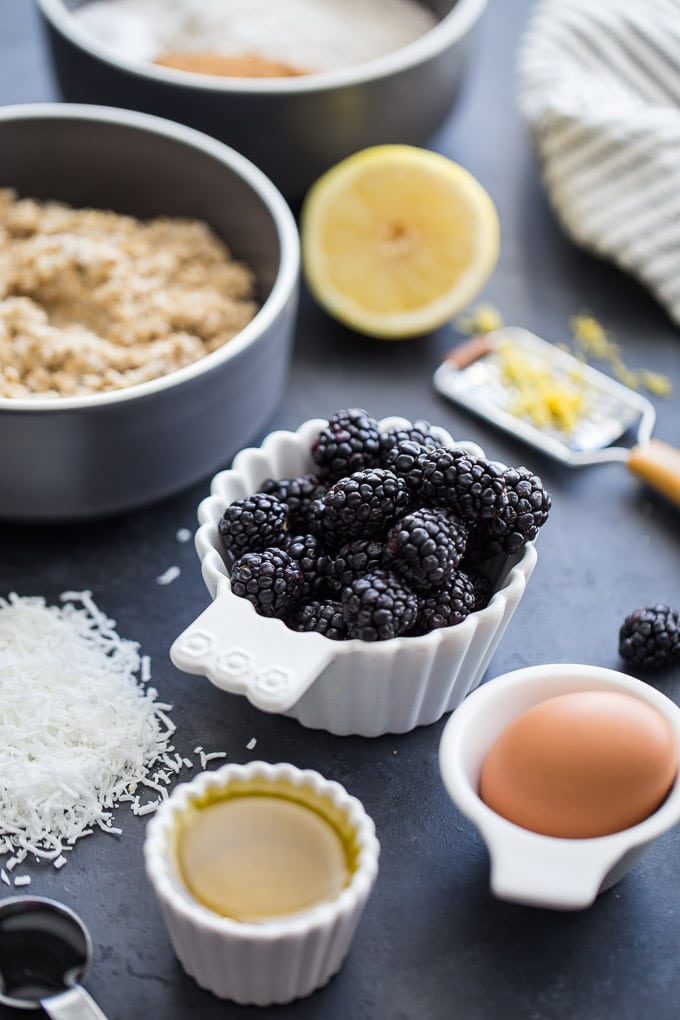 Ingredients to make Blackberry Lemon Overnight Oatmeal Muffins.