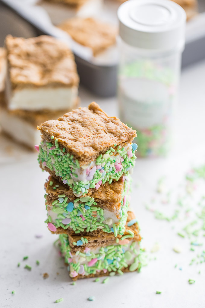 Stack of Carrot Cake Ice Cream Sandwiches with sprinkles.