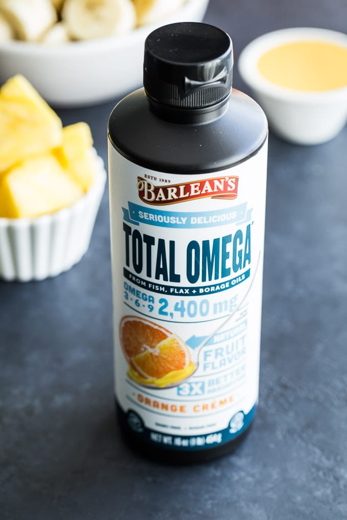 Up-close view of a bottle of Barlean's Total Omega Orange Creme.