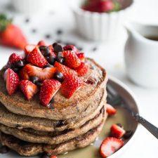 Strawberry Chocolate Chip Buckwheat Pancakes Crumb Top Baking