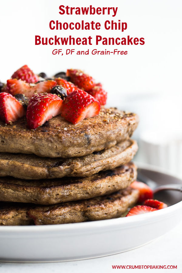 Pinterest image for Strawberry Chocolate Chip Buckwheat Pancakes.