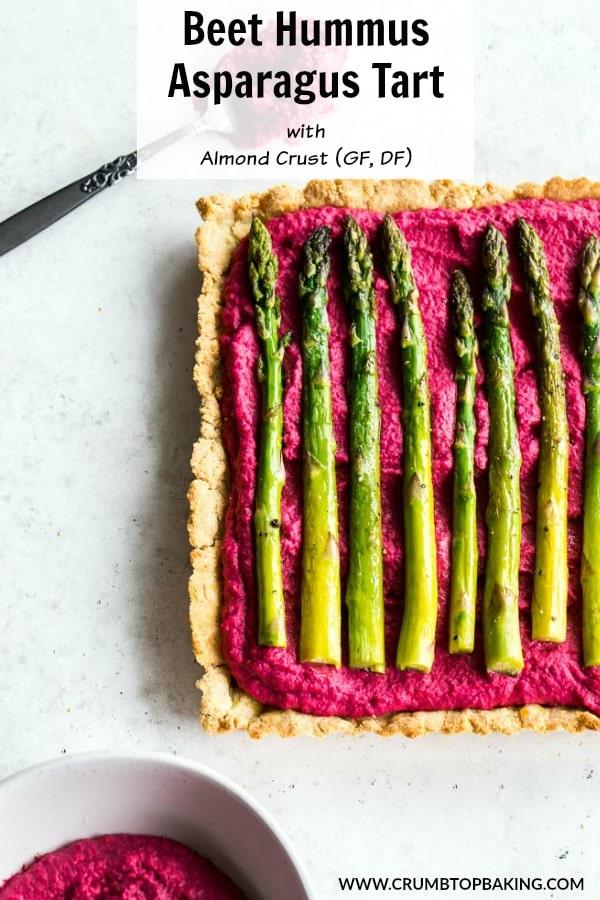 Pinterest image for Beet Hummus Asparagus Tart with Almond Crust.