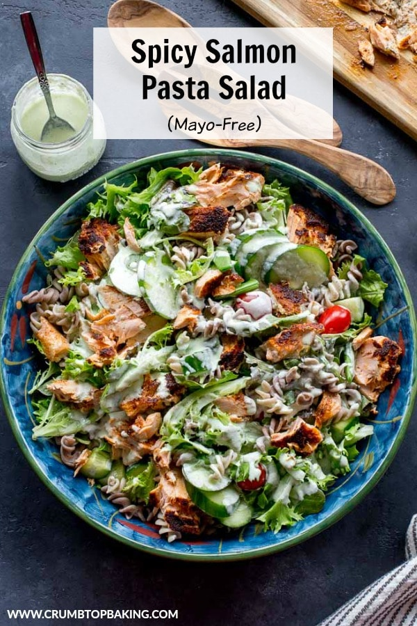 Pinterest image for Spicy Salmon Pasta Salad.