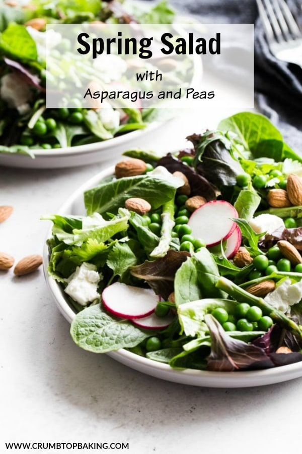 Pinterest image for Spring Salad with Asparagus and Peas.