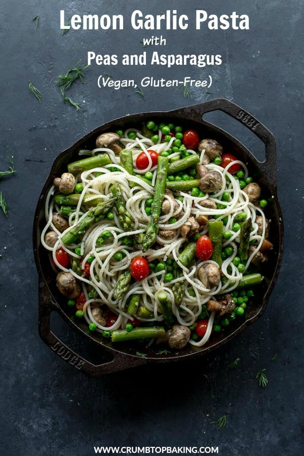 Pinterest image for Lemon Garlic Pasta with Peas and Asparagus.