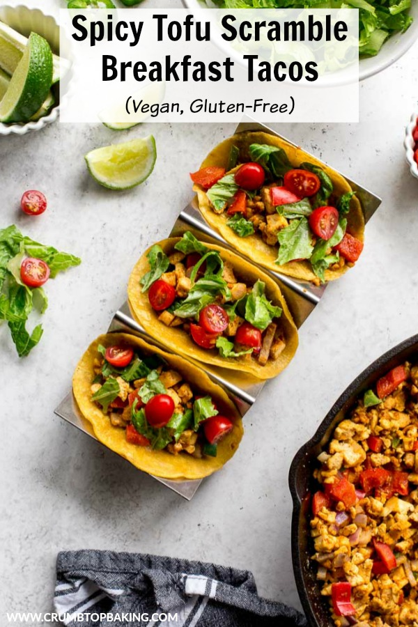 Pinterest image for Spicy Tofu Scramble Breakfast Tacos.