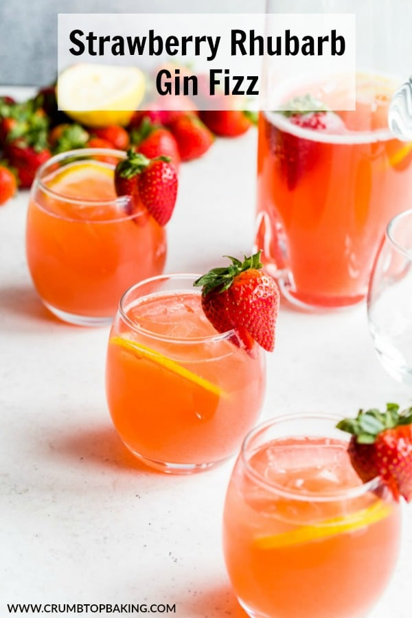 Pinterest image for Strawberry Rhubarb Gin Fizz.