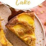 Pinterest image for peach ricotta cake.