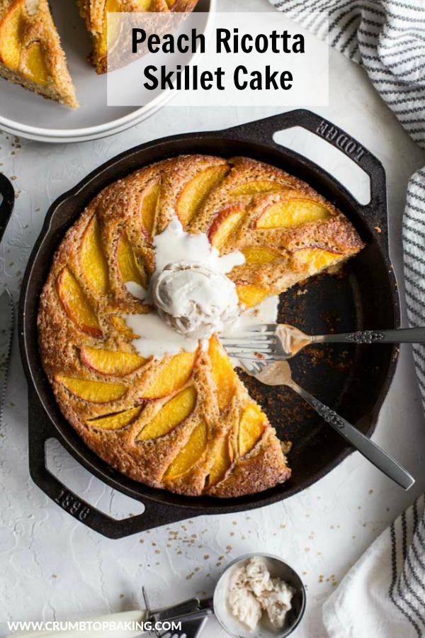 Pinterest image for Peach Ricotta Skillet Cake.