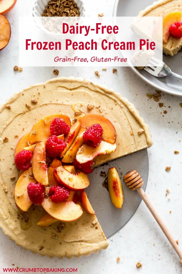 Pinterest image for Dairy-Free Frozen Peach Cream Pie.