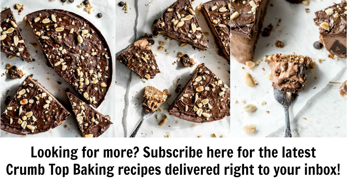 "Collage of cake images with caption ""subscribe here for the latest Crumb Top Baking recipes delivered right to your inbox""."