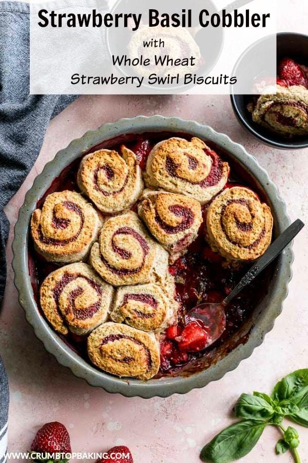 Pinterest image for Strawberry Basil Cobbler.