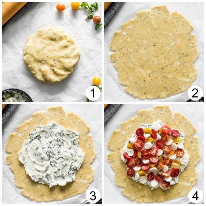 Collage of four photos showing how the galette dough is rolled out and filled with cheese and tomatoes.