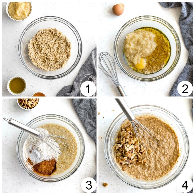 Collage of photos showing how the banana nut muffin batter is made.